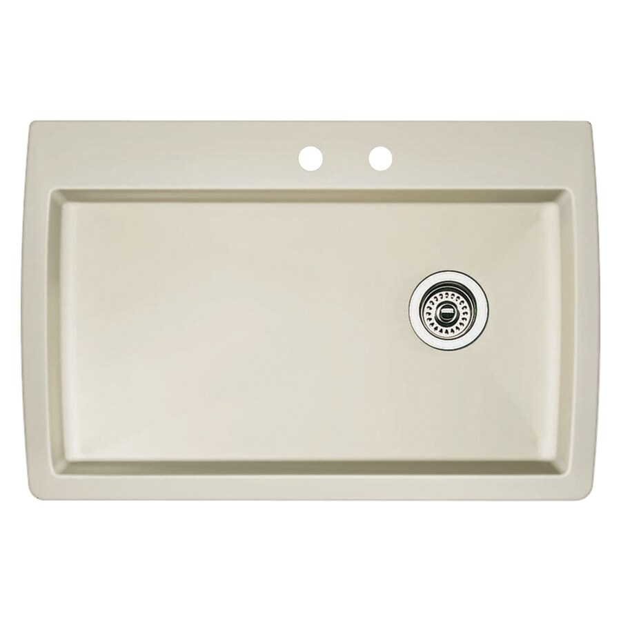 BLANCO Diamond 22.0-in x 33.5-in Biscuit Single-Basin Granite Drop-in or Undermount 2-Hole Residential Kitchen Sink