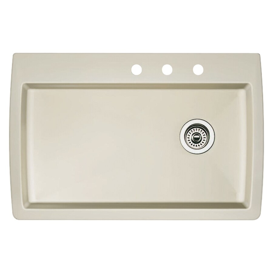BLANCO Diamond 22-in x 33.5-in Biscuit Single-Basin Granite Drop-In 3-Hole Residential Kitchen Sink
