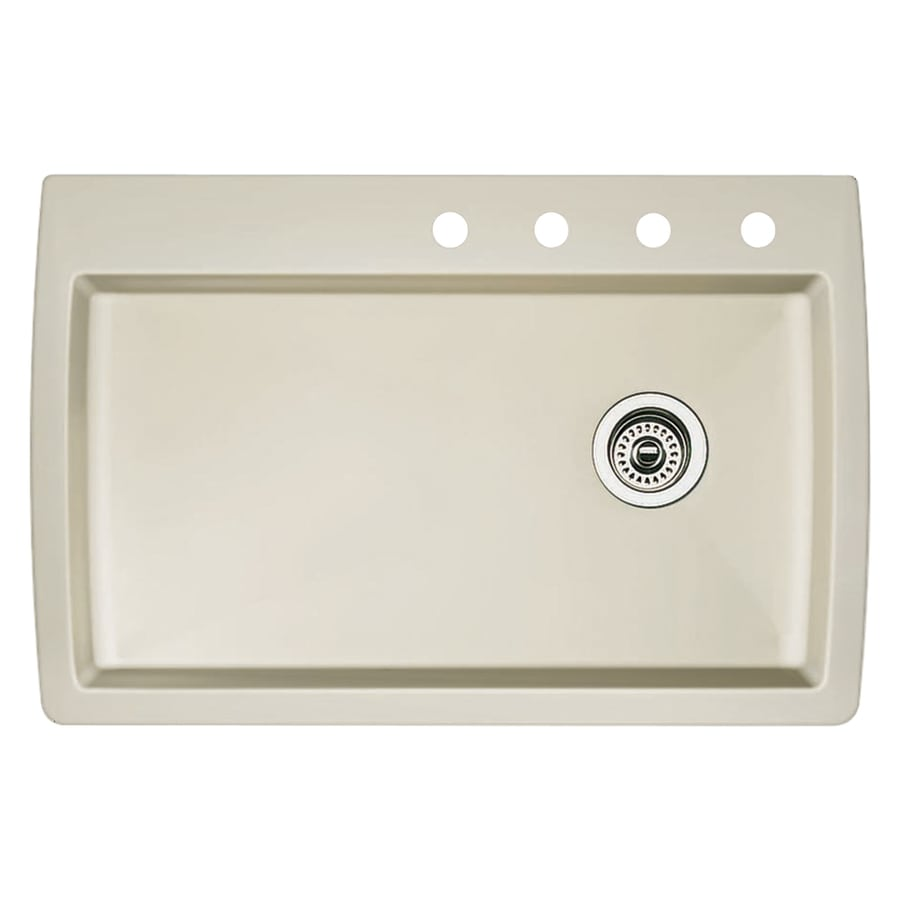 BLANCO Diamond 22-in x 33.5-in Biscuit Single-Basin Granite Drop-In 4-Hole Residential Kitchen Sink