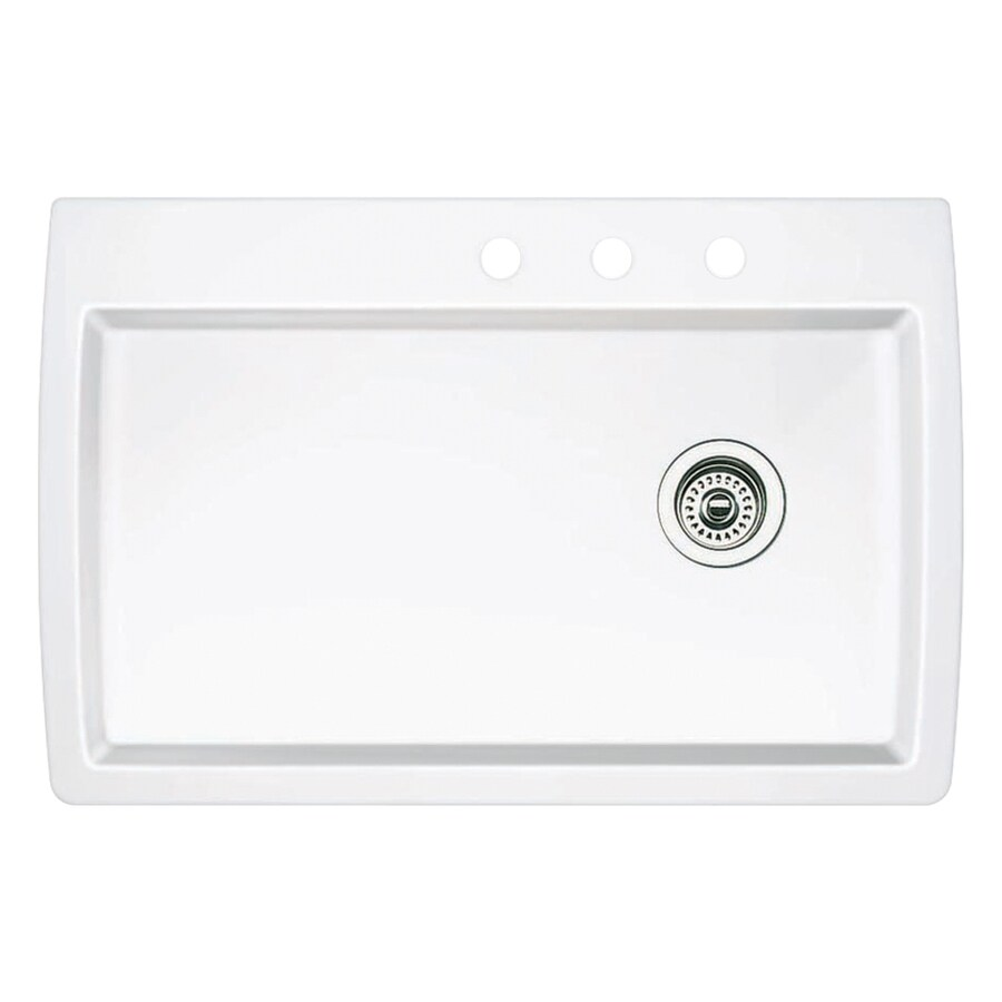 BLANCO Diamond 22-in x 33.5-in White Single-Basin Granite Drop-In 3-Hole Residential Kitchen Sink