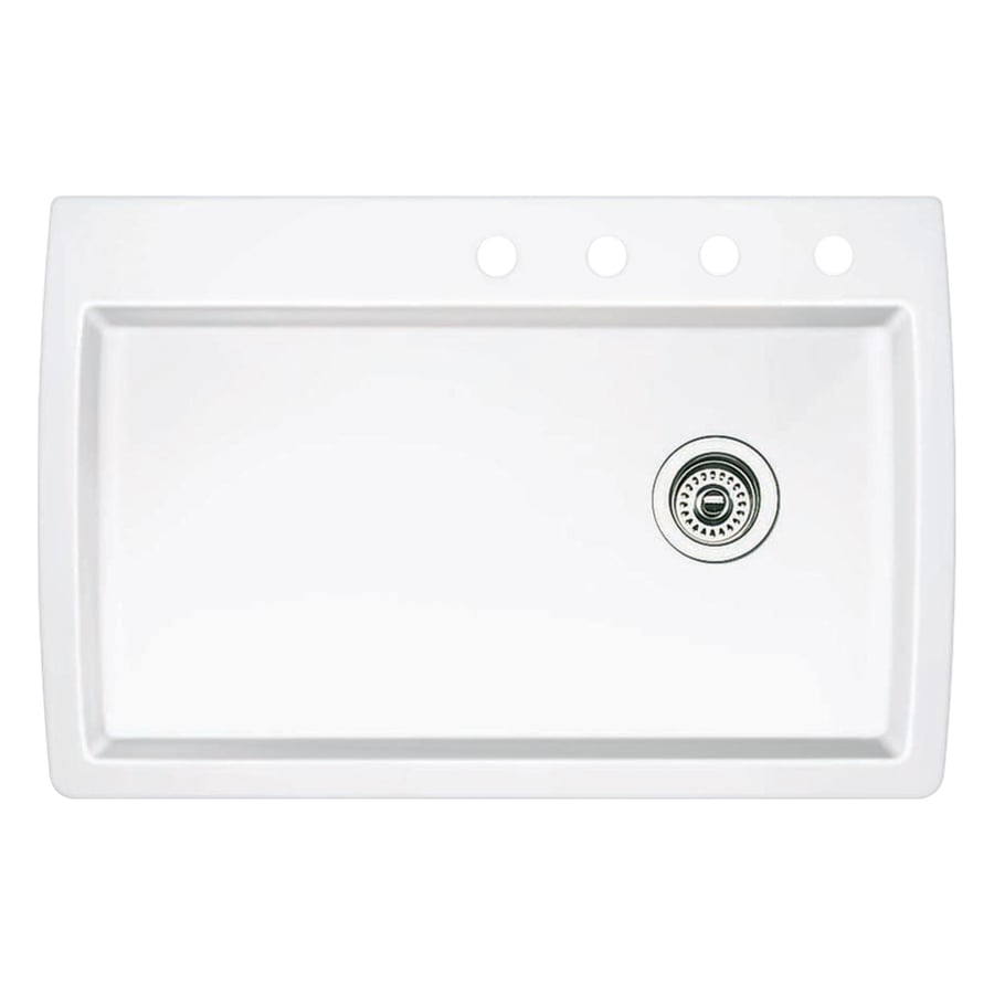 BLANCO Diamond 22-in x 33.5-in White Single-Basin Granite Drop-in or Undermount 4-Hole Residential Kitchen Sink