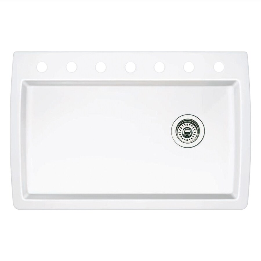 BLANCO Diamond 22-in x 33.5-in White Single-Basin Granite Drop-in or Undermount 7-Hole Residential Kitchen Sink
