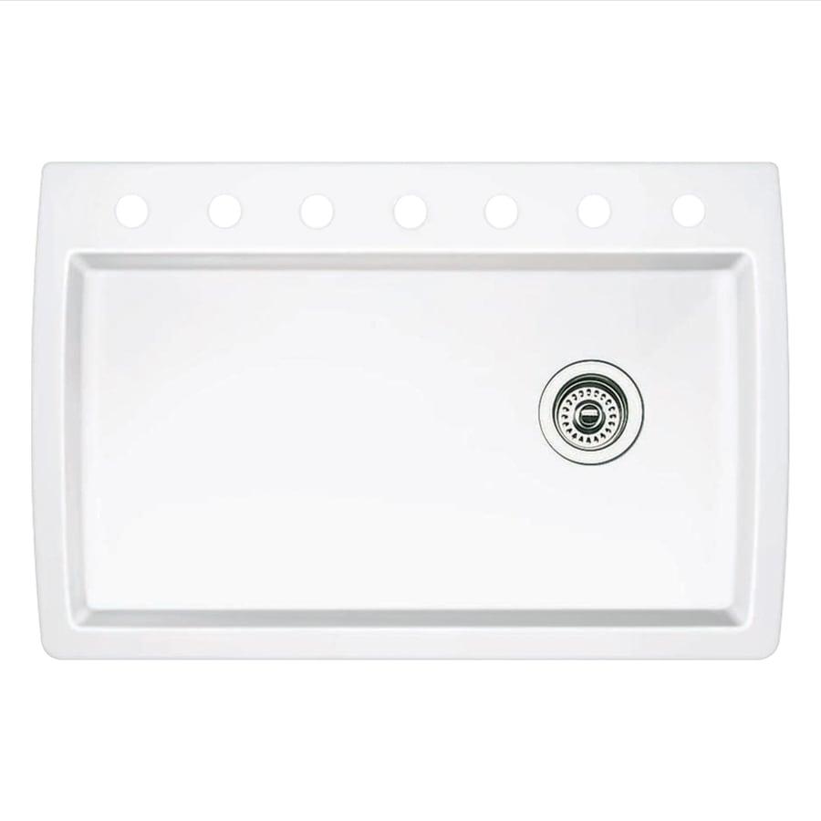 BLANCO Diamond 22.0-in x 33.5-in White Single-Basin Granite Drop-in or Undermount 7-Hole Residential Kitchen Sink