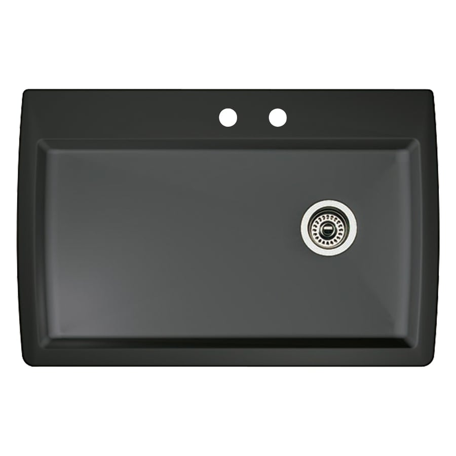 BLANCO Diamond 22-in x 33.5-in Anthracite Single-Basin-Basin Granite Drop-in or Undermount 2-Hole Residential Kitchen Sink