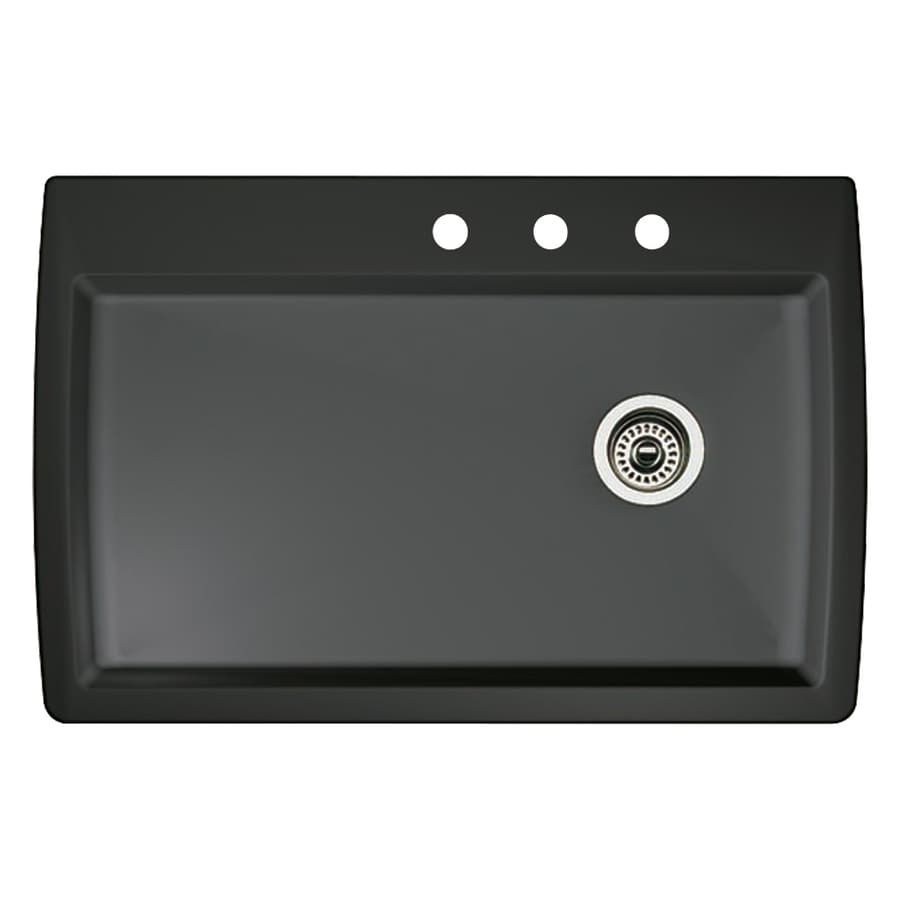BLANCO Diamond 22.0-in x 33.5-in Anthracite Single-Basin Granite Drop-in or Undermount 3-Hole Residential Kitchen Sink
