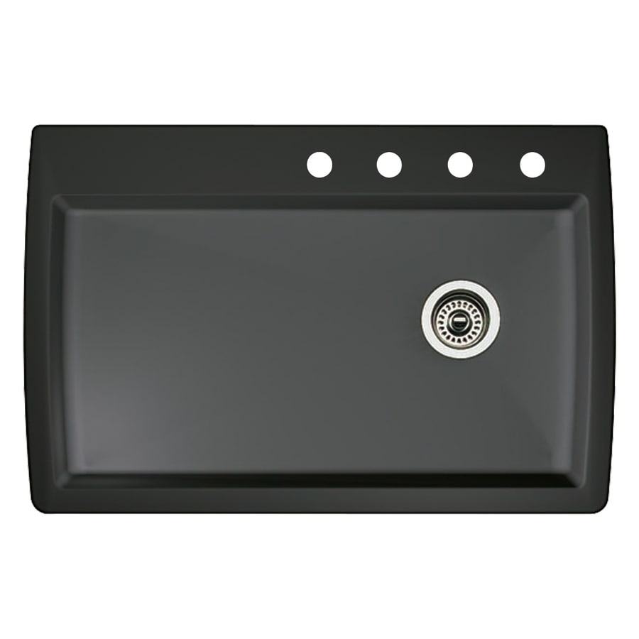 BLANCO Diamond 22-in x 33.5-in Anthracite Single-Basin Granite Drop-In 4-Hole Residential Kitchen Sink