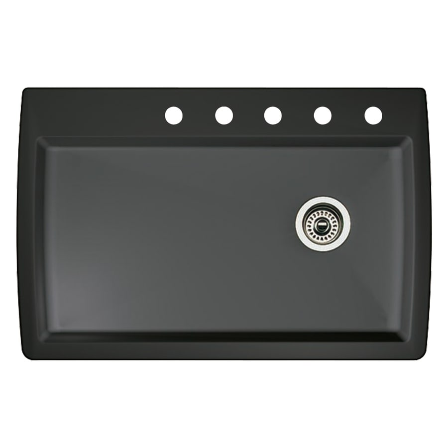 BLANCO Diamond 22-in x 33.5-in Anthracite Single-Basin Granite Drop-In 5-Hole Residential Kitchen Sink