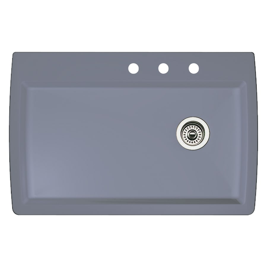 BLANCO Diamond 22.0-in x 33.5-in Metallic Gray Single-Basin Granite Drop-in or Undermount 3-Hole Residential Kitchen Sink