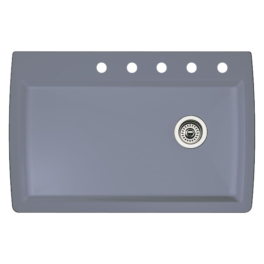 BLANCO Diamond 22-in x 33.5-in Metallic Gray Single-Basin Granite Drop-in or Undermount 5-Hole Residential Kitchen Sink