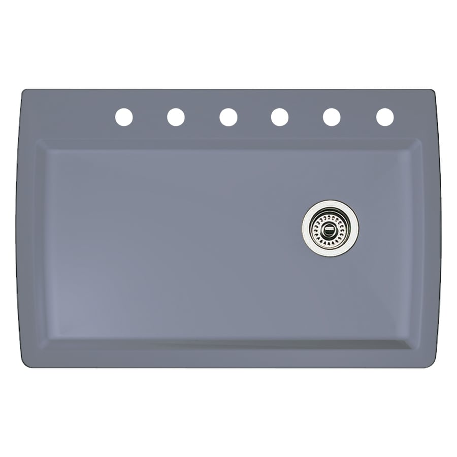 BLANCO Diamond 22-in x 33.5-in Metallic Gray Single-Basin Granite Drop-In 6-Hole Residential Kitchen Sink