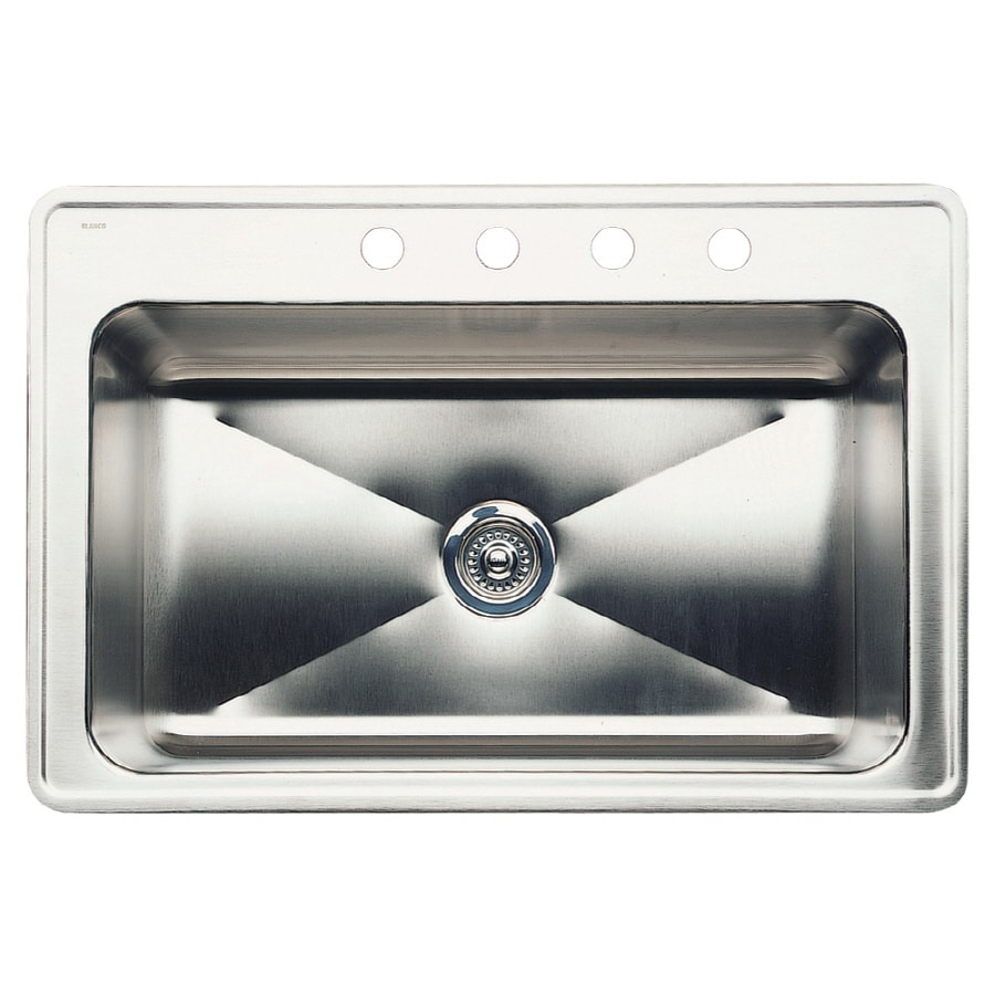 BLANCO Magnum 22.0-in x 33.0-in Single-Basin Stainless Steel Drop-in 4-Hole Residential Kitchen Sink