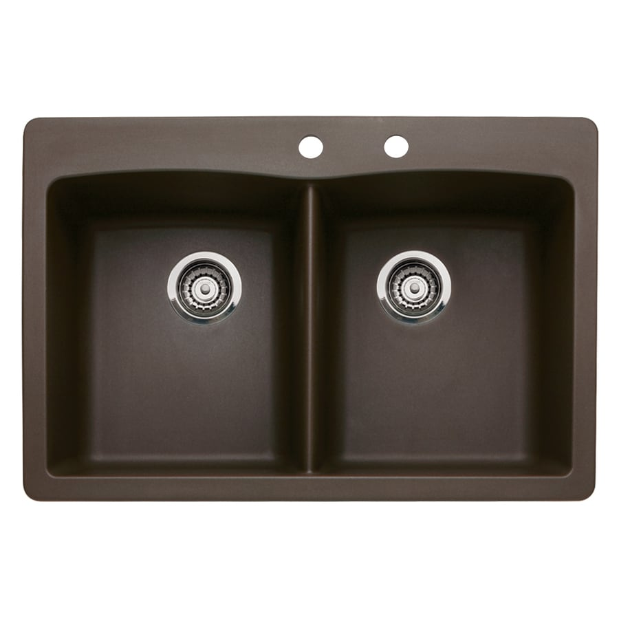 BLANCO Diamond 22-in x 33-in Cafe Brown Double-Basin Granite Drop-In 2-Hole Residential Kitchen Sink