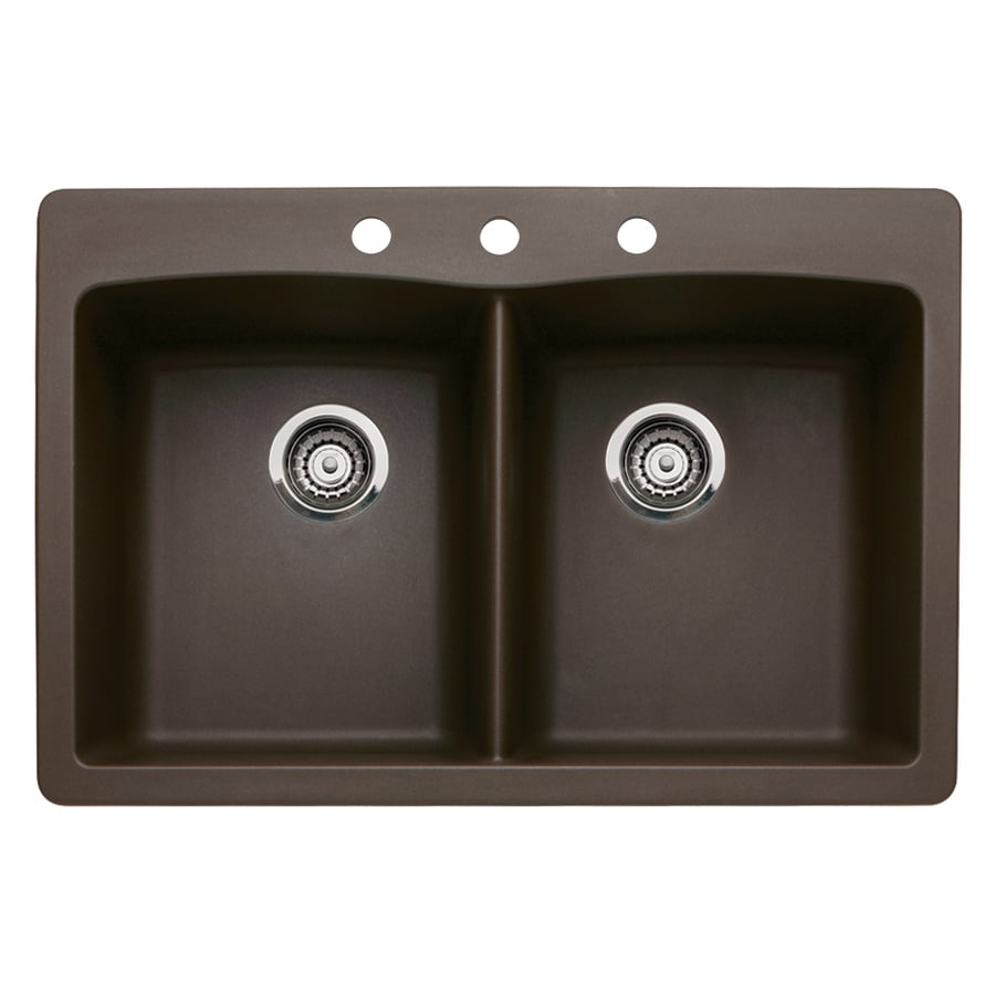 BLANCO Diamond 22-in x 33-in Cafe Brown Double-Basin Granite Drop-In 3-Hole Residential Kitchen Sink