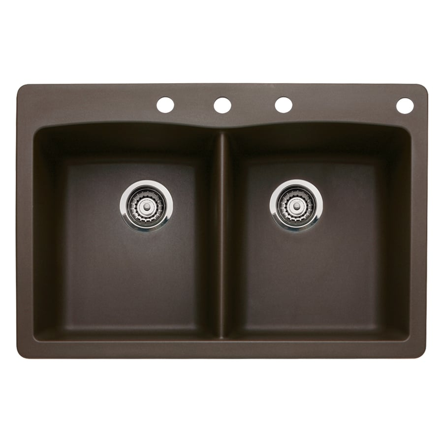 BLANCO Diamond 22-in x 33-in Cafe Brown Single-Basin-Basin Granite Drop-in or Undermount 4-Hole Residential Kitchen Sink