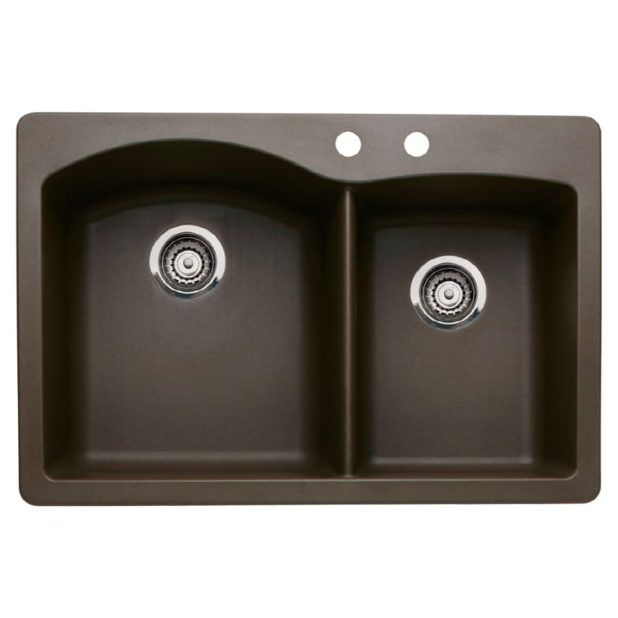BLANCO Diamond 22.0-in x 33.0-in Cafe Brown Double-Basin Granite Drop-in or Undermount 2-Hole Residential Kitchen Sink