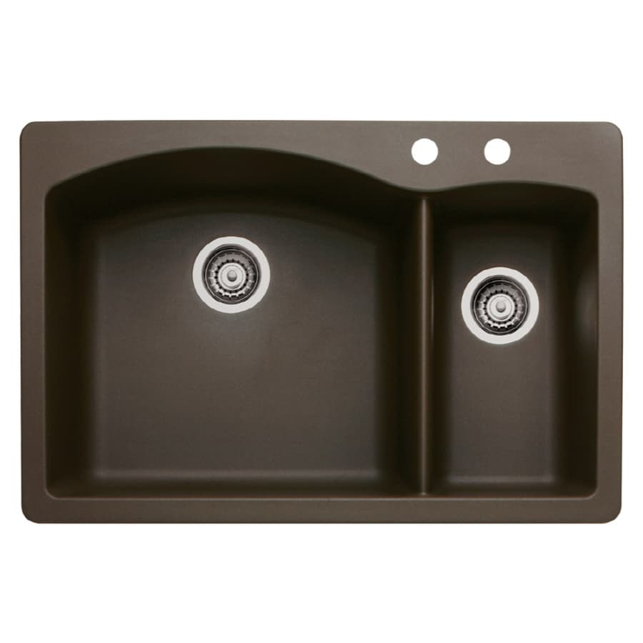 BLANCO Diamond 22-in x 33-in Cafe Brown Double-Basin Granite Drop-in or Undermount 2-Hole Residential Kitchen Sink