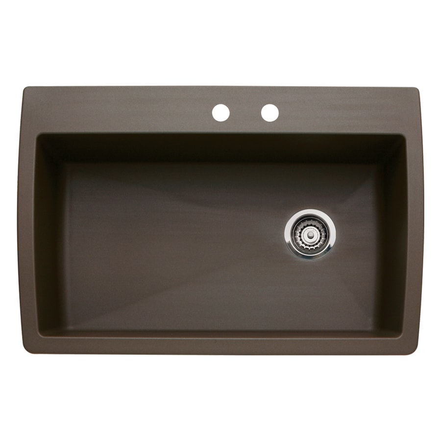 BLANCO Diamond 22-in x 33.5-in Cafe Brown Single-Basin Granite Drop-In 2-Hole Residential Kitchen Sink