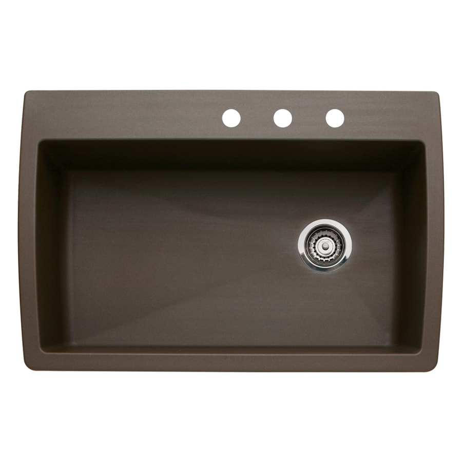 BLANCO Diamond 22-in x 33.5-in Cafe Brown Single-Basin Granite Drop-In 3-Hole Residential Kitchen Sink