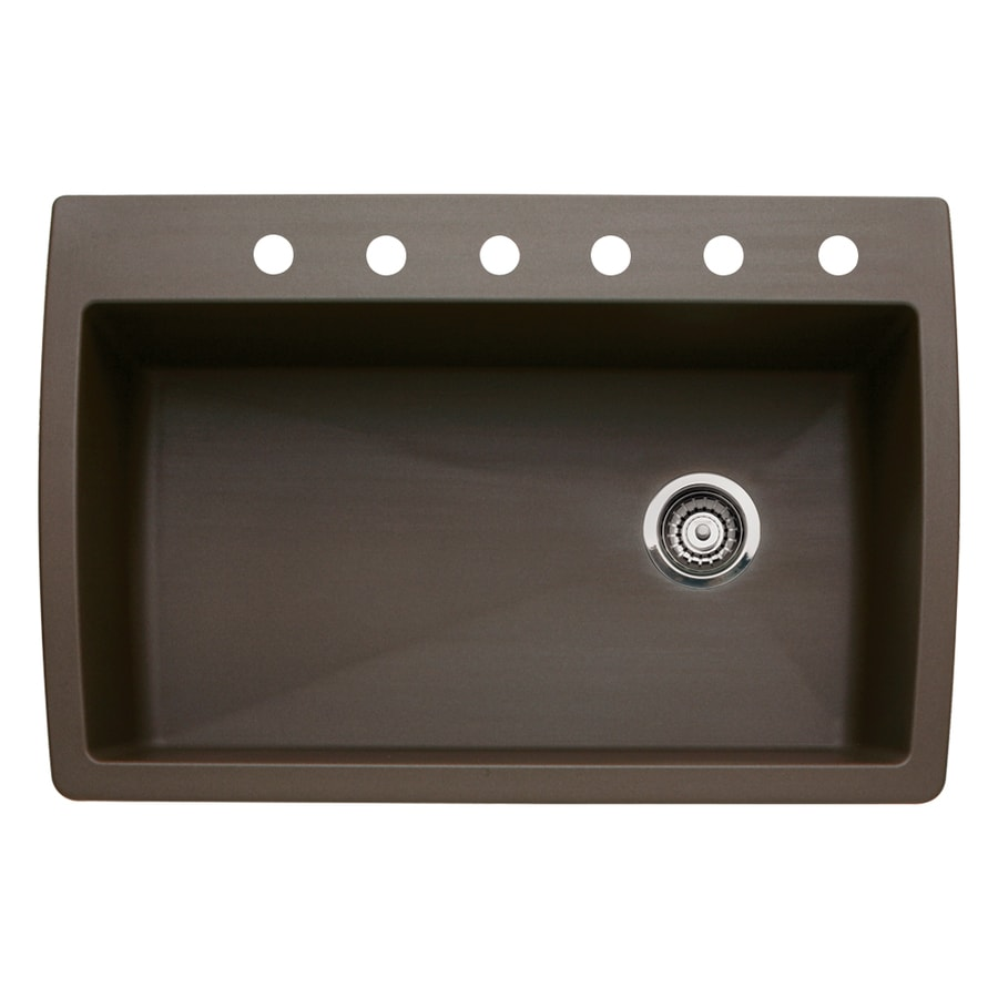 BLANCO Diamond 22.0-in x 33.5-in Cafe Brown Single-Basin Granite Drop-in or Undermount 6-Hole Residential Kitchen Sink