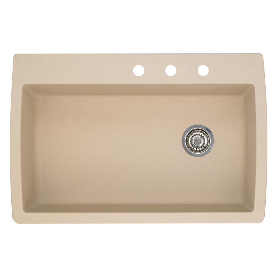 BLANCO Diamond 22-in x 33.5-in Biscotti Single-Basin Granite Drop-In Or Undermount 3-Hole Residential Kitchen Sink