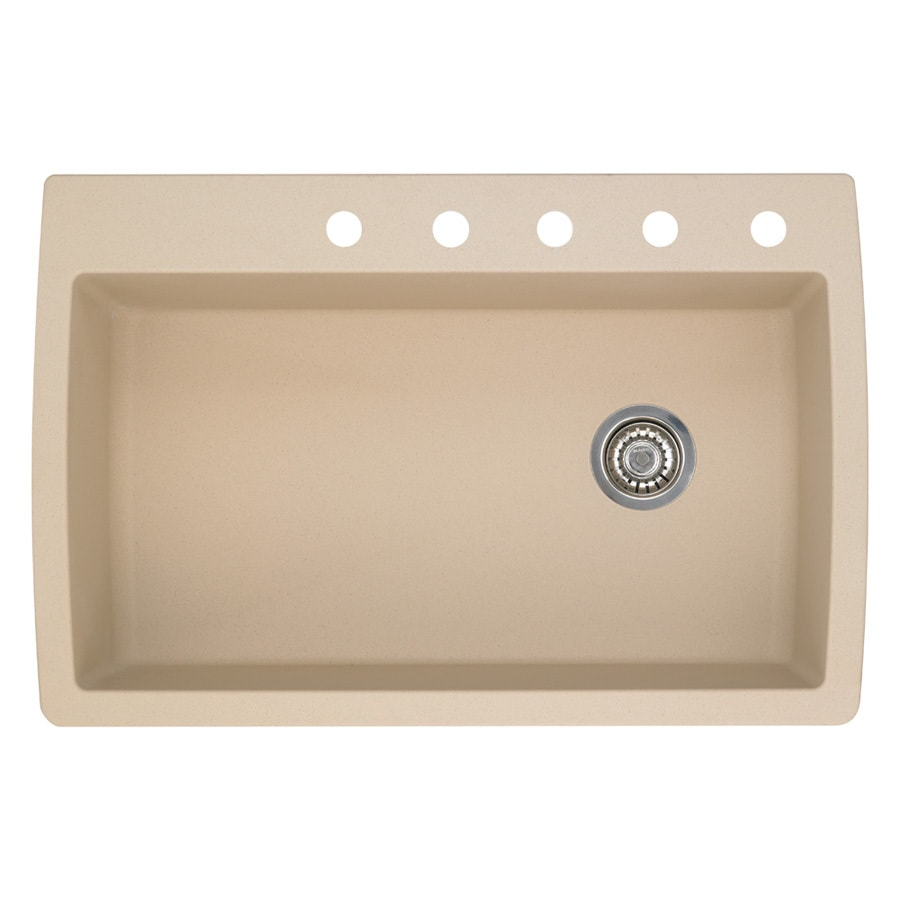 BLANCO Diamond 22-in x 33.5-in Biscotti Single-Basin-Basin Granite Drop-in or Undermount 5-Hole Residential Kitchen Sink