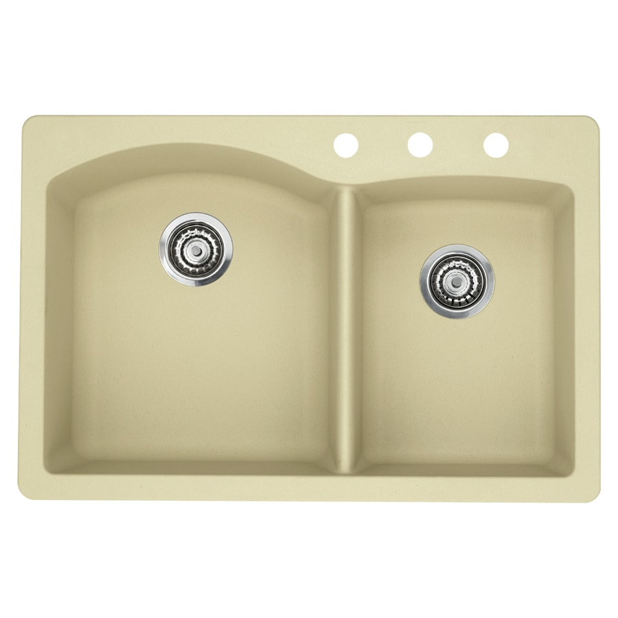 BLANCO Diamond 22-in x 33-in Biscotti Double-Basin Granite Drop-In 3-Hole Residential Kitchen Sink