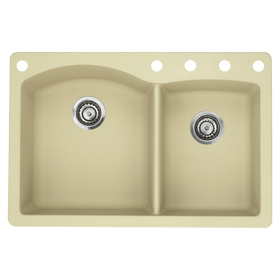 BLANCO Diamond 22-in x 33-in Biscotti Double-Basin Granite Drop-In 5-Hole Residential Kitchen Sink
