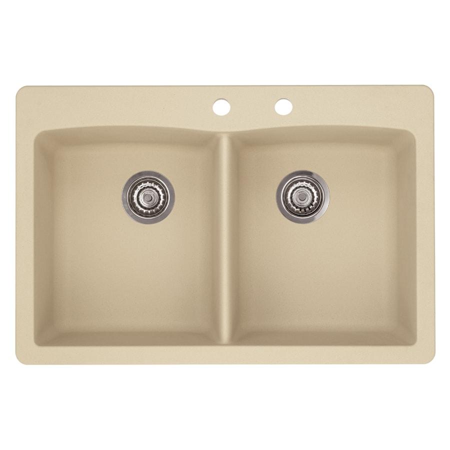 BLANCO Diamond 22-in x 33-in Biscotti Double-Basin Granite Drop-In 2-Hole Residential Kitchen Sink