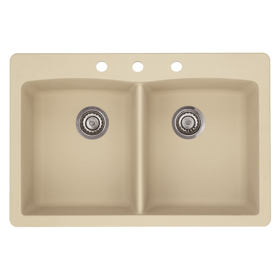 blanco granite sinks shop blanco 33 in x 22 in biscotti white 961