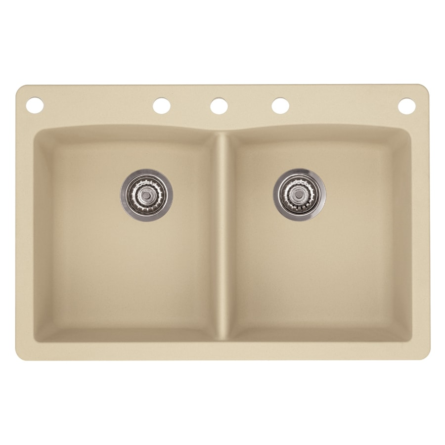BLANCO Diamond 22.0-in x 33.0-in Biscotti Double-Basin Granite Drop-in or Undermount 5-Hole Residential Kitchen Sink