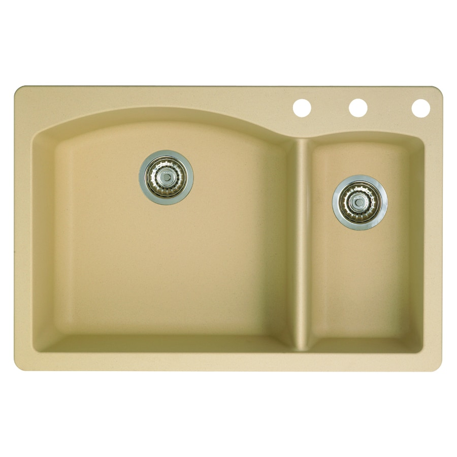 BLANCO Diamond 22-in x 33-in Biscotti Double-Basin Granite Drop-in or Undermount 3-Hole Residential Kitchen Sink