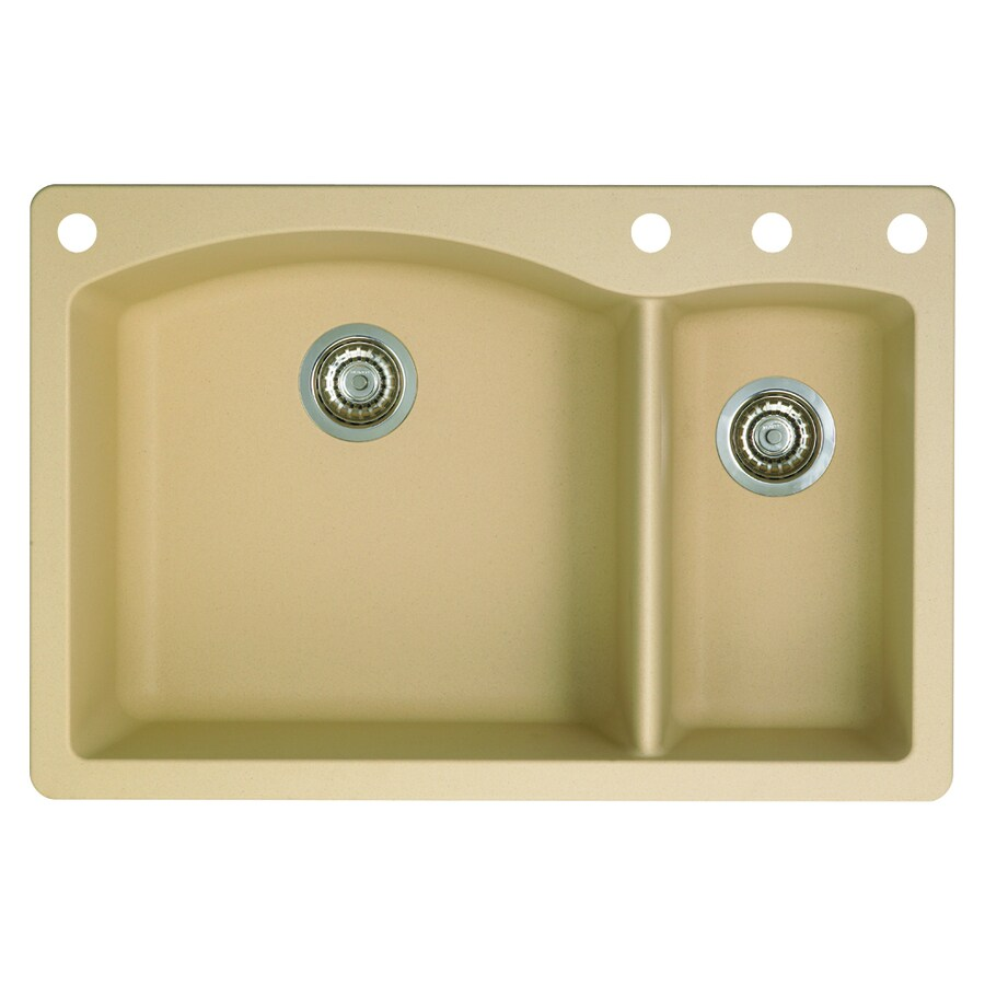 BLANCO Diamond 22-in x 33-in Biscotti Double-Basin Granite Drop-in or Undermount 4-Hole Residential Kitchen Sink