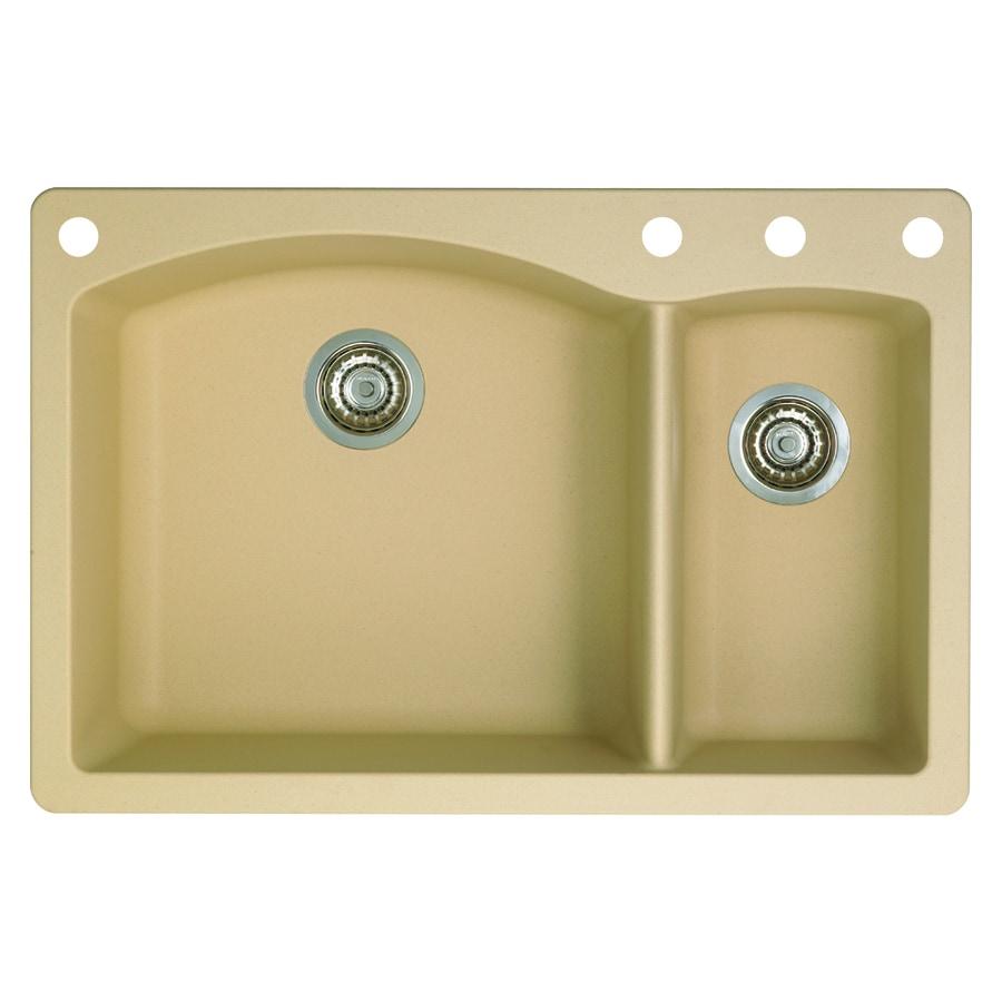 BLANCO Diamond 22-in x 33-in Biscotti Double-Basin Granite Drop-In 4-Hole Residential Kitchen Sink