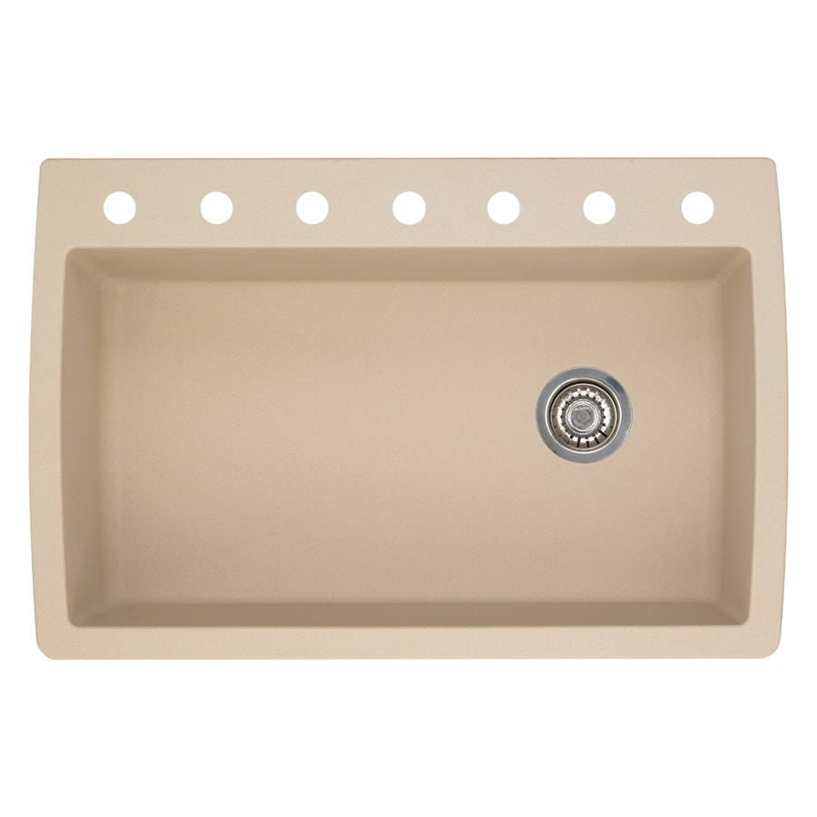 BLANCO Diamond 22.0-in x 33.5-in Biscotti Single-Basin Granite Drop-in or Undermount 7-Hole Residential Kitchen Sink