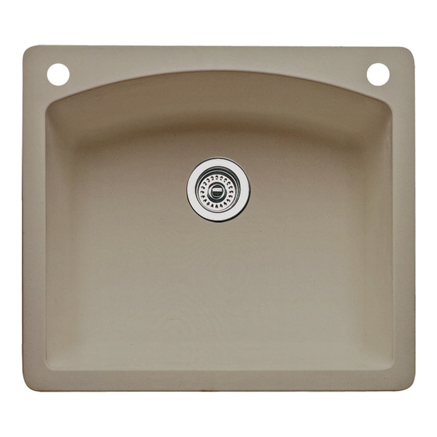 BLANCO Diamond 22-in x 25-in Truffle Single-Basin Granite Drop-in or Undermount 2-Hole Residential Kitchen Sink