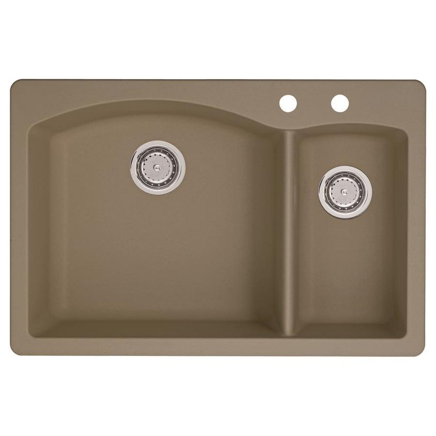 BLANCO Diamond 22-in x 33-in Truffle Double-Basin Granite Drop-in or Undermount 2-Hole Residential Kitchen Sink