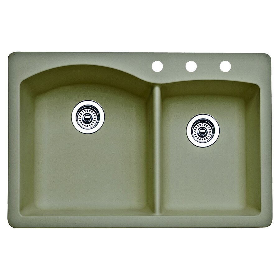 BLANCO Diamond 22-in x 33-in Truffle Double-Basin Granite Drop-In Or Undermount 3-Hole Residential Kitchen Sink