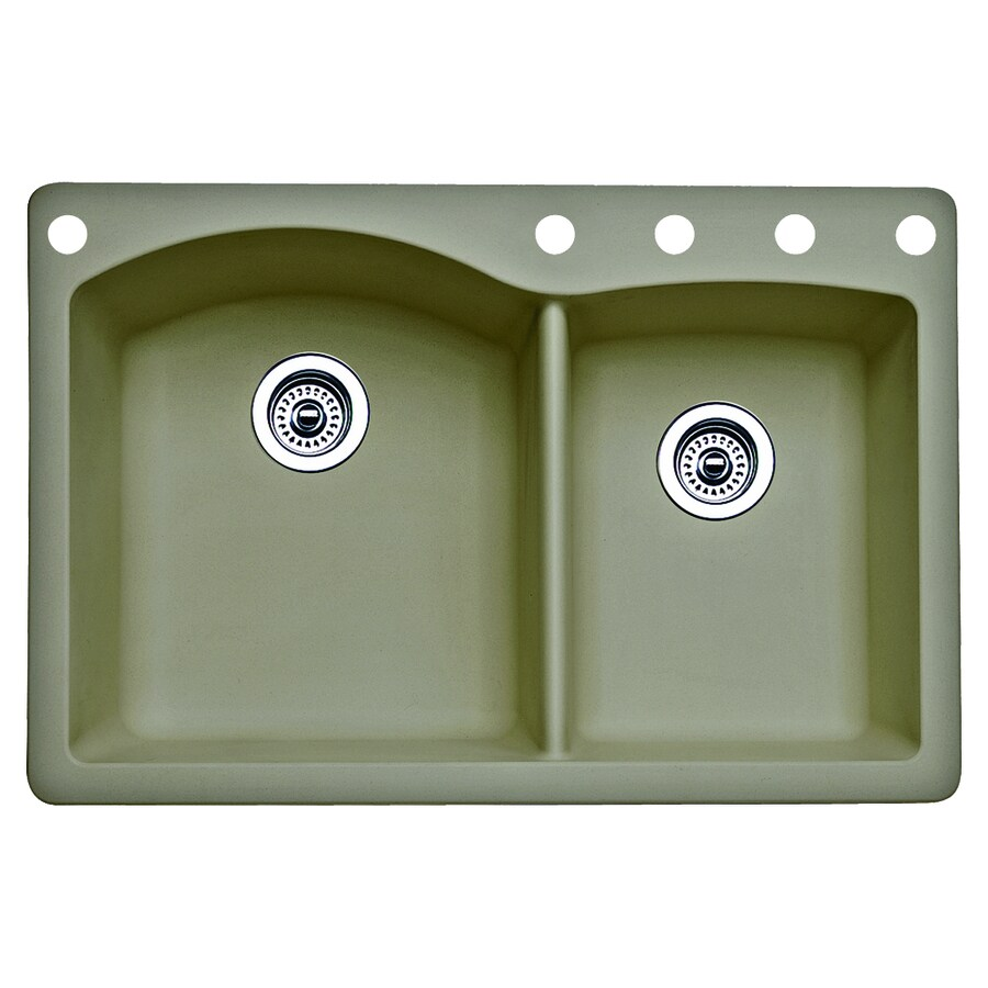 BLANCO Diamond 22.0-in x 33.0-in Truffle Double-Basin Granite Drop-in or Undermount 5-Hole Residential Kitchen Sink
