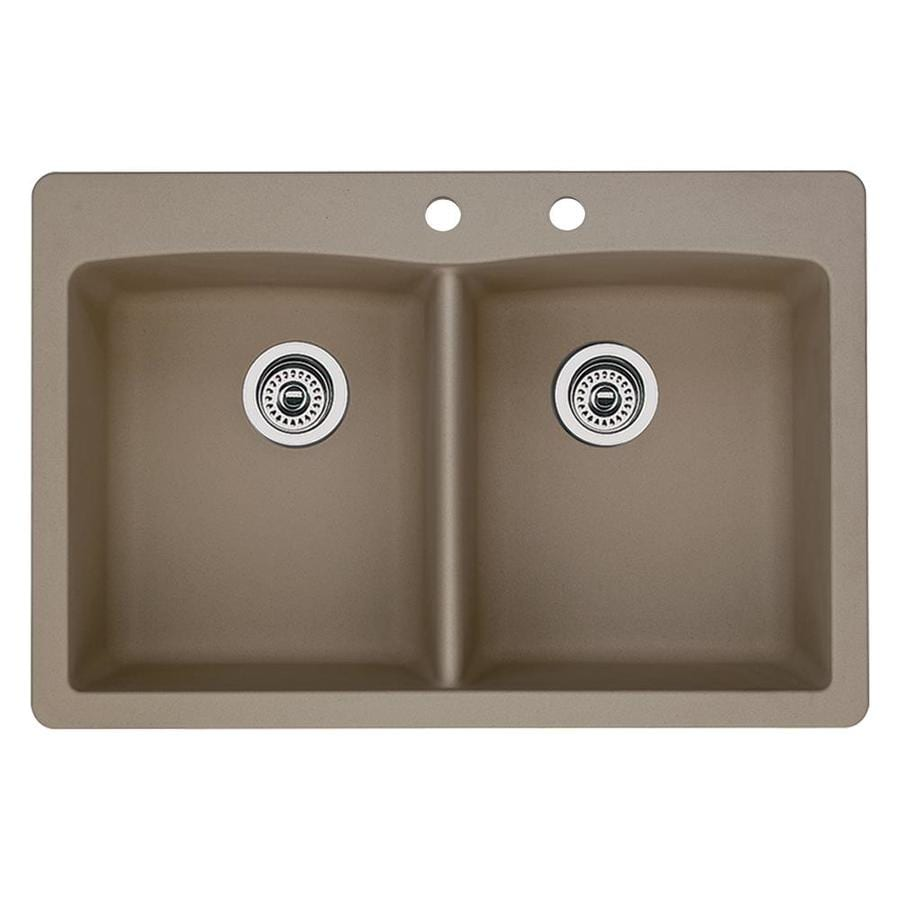 BLANCO Diamond 22-in x 33-in Truffle Single-Basin-Basin Granite Drop-in or Undermount 2-Hole Residential Kitchen Sink