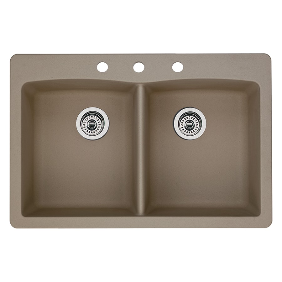 BLANCO Diamond 22-in x 33-in Truffle Double-Basin Granite Drop-In 3-Hole Residential Kitchen Sink