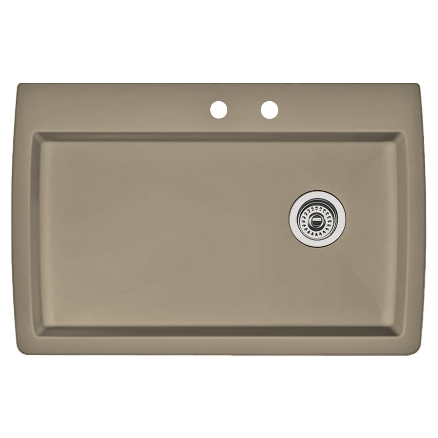 BLANCO Diamond 22-in x 33.5-in Truffle Single-Basin Granite Drop-In 2-Hole Residential Kitchen Sink