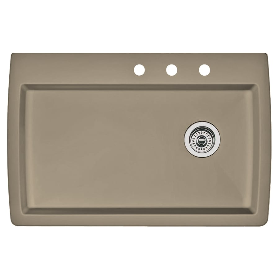 BLANCO Diamond 22-in x 33.5-in Truffle Single-Basin Granite Drop-in or Undermount 3-Hole Residential Kitchen Sink