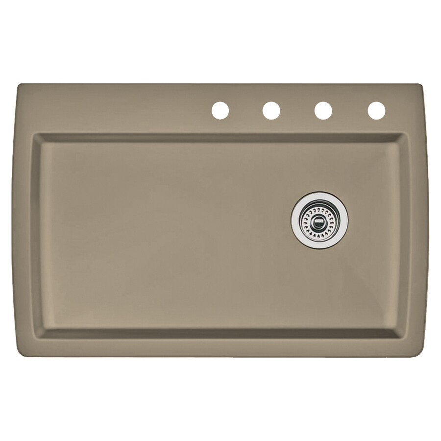 BLANCO Diamond 22-in x 33.5-in Truffle Single-Basin Granite Drop-In 4-Hole Residential Kitchen Sink
