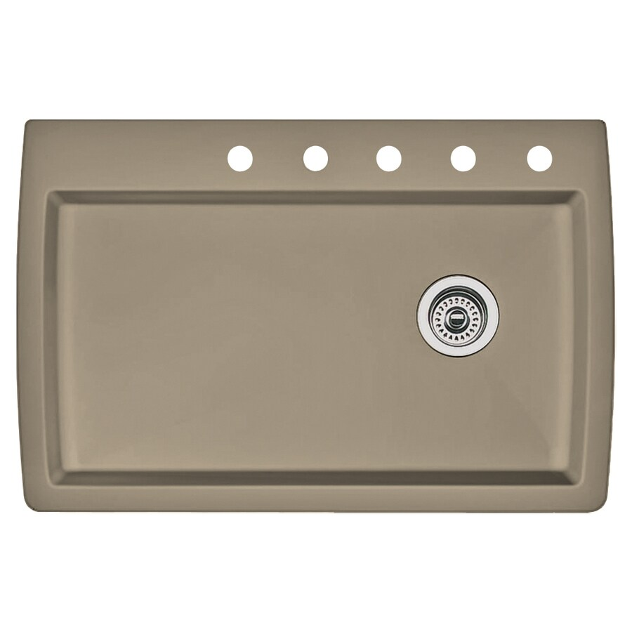 BLANCO Diamond 22-in x 33.5-in Truffle Single-Basin Granite Drop-In 5-Hole Residential Kitchen Sink