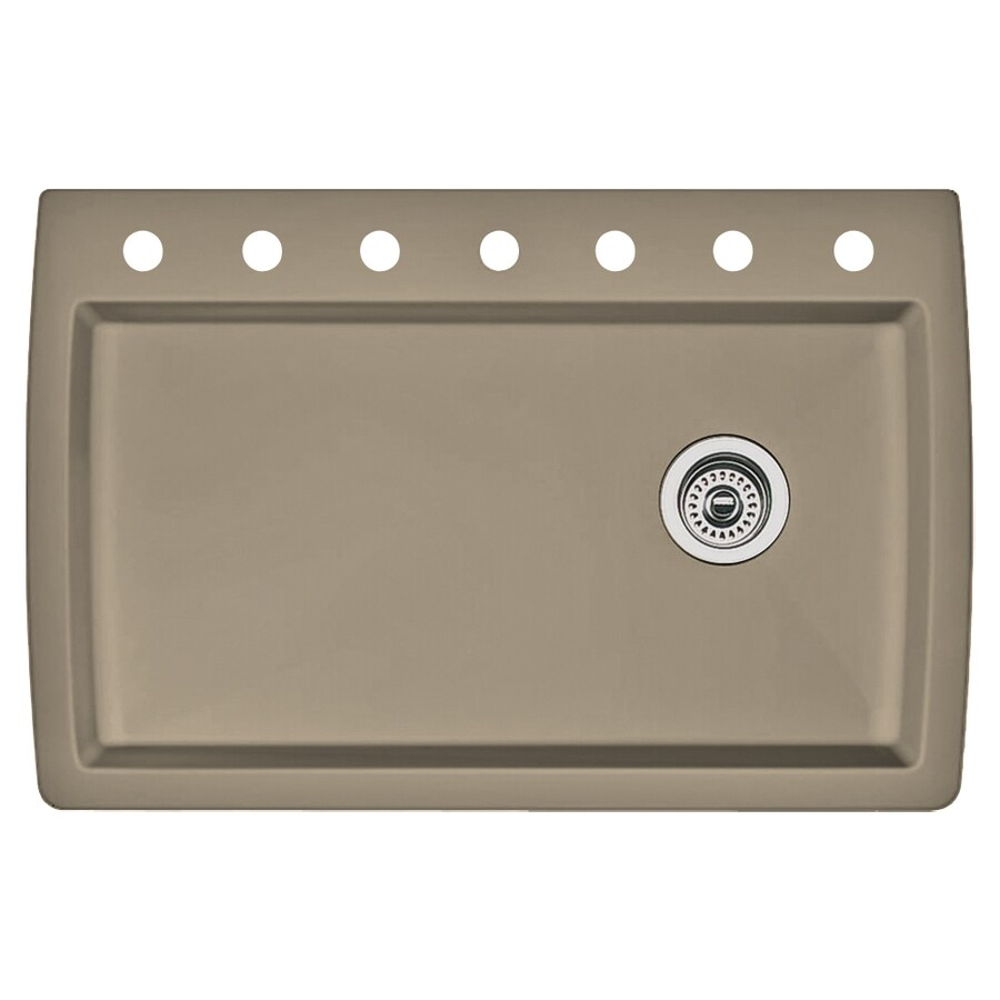 BLANCO Diamond 22-in x 33.5-in Truffle Single-Basin Granite Drop-In 7-Hole Residential Kitchen Sink