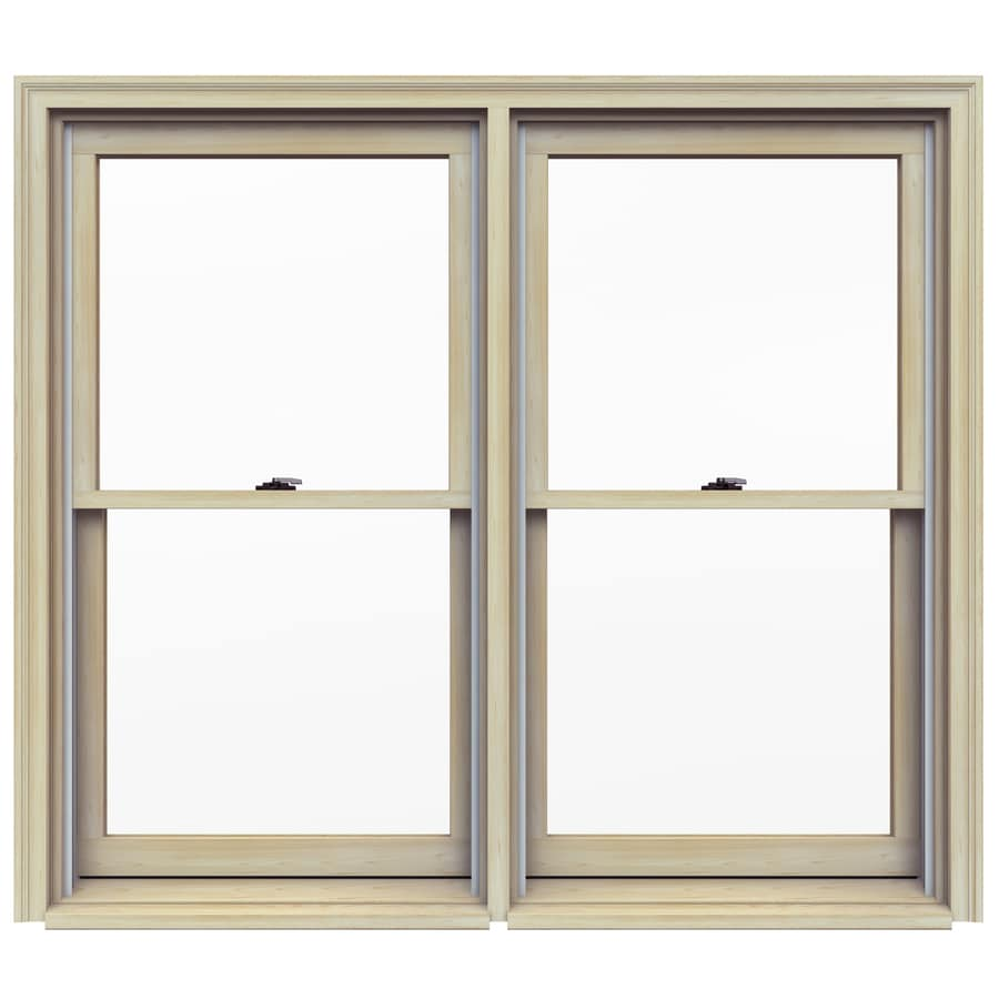 Jeld Wen Tradition Plus Wood Replacement Natural Unfinished Pine Exterior Double Hung Window Rough