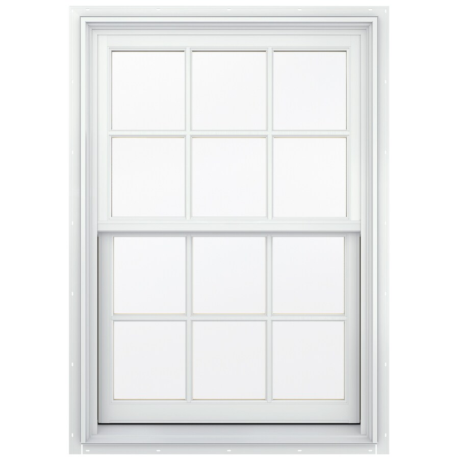 JELD-WEN Aluminum-clad Double Pane Annealed New Construction Double Hung Window (Rough Opening: 30.13-in x 56.75-in; Actual: 29.38-in x 56-in)