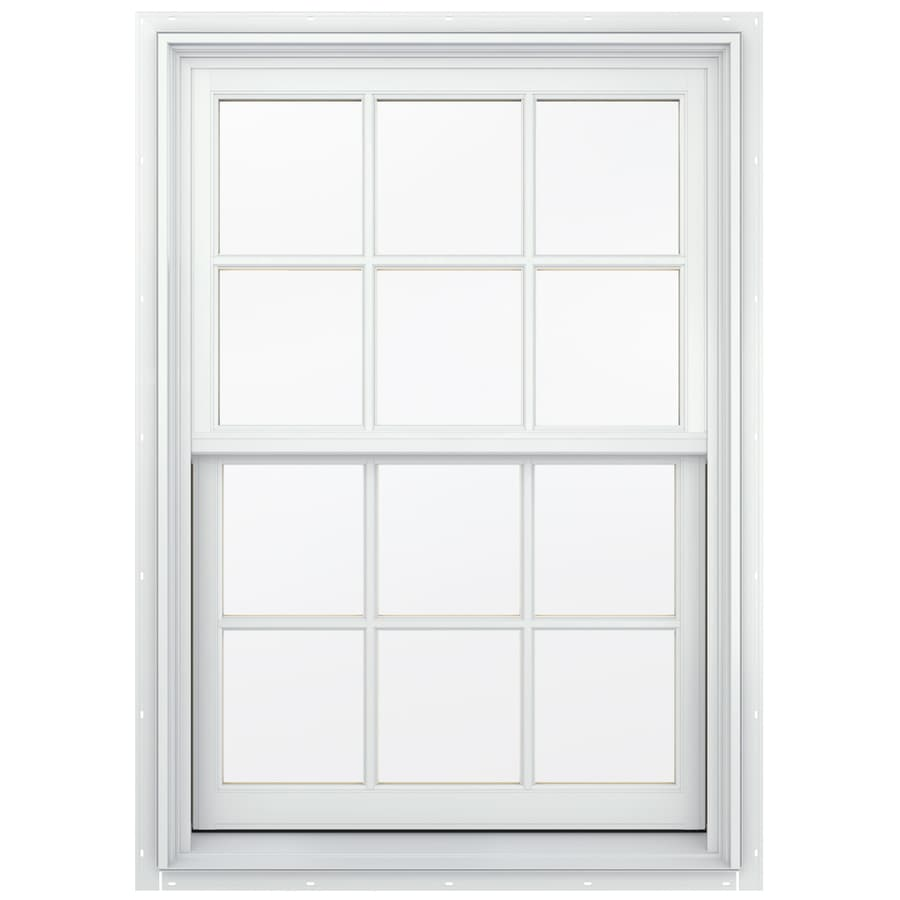 JELD-WEN Aluminum-Clad Double Pane Annealed Egress Double Hung Window (Rough Opening: 34.13-in x 56.75-in; Actual: 33.38-in x 56-in)