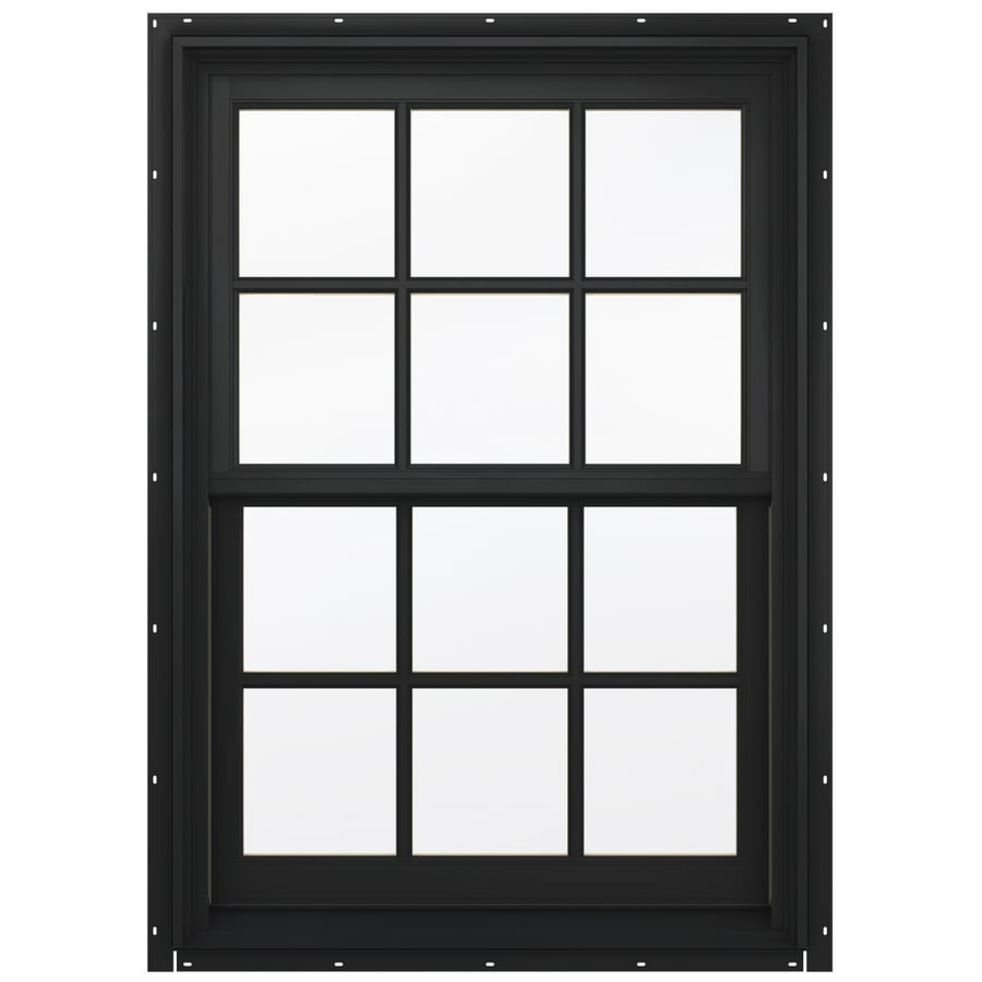 JELD-WEN Aluminum-Clad Double Pane Annealed Egress Double Hung Window (Rough Opening: 38.13-in x 56.75-in; Actual: 37.38-in x 56-in)