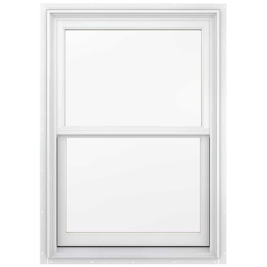 JELD-WEN Aluminum-clad Double Pane Annealed New Construction Egress Double Hung Window (Rough Opening: 34.13-in x 56.75-in; Actual: 33.38-in x 56-in)